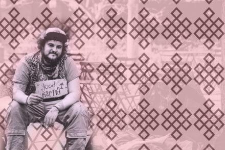 Man Sitting on street, cardboard sign, design, good karma