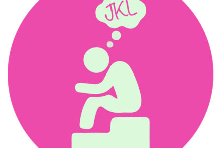 Just Keep Learning, JKL, Thinker, Logo, Pink, Statue